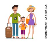 happy family travels. cartoon... | Shutterstock .eps vector #655205665