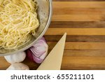 overhead view of pasta in...