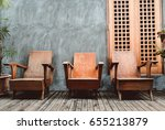 wooden chair in vintage house... | Shutterstock . vector #655213879