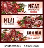 butchery shop meat product... | Shutterstock .eps vector #655218031