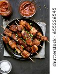 barbecued pork kebabs and... | Shutterstock . vector #655226545