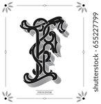 vector letter f black on white... | Shutterstock .eps vector #655227799