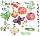 watercolor vegetables set... | Shutterstock . vector #655232419