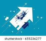 growth. businesswoman flying... | Shutterstock .eps vector #655236277