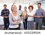 portrait of smiling colleagues... | Shutterstock . vector #655239034