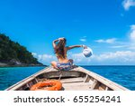 traveler woman in bikini... | Shutterstock . vector #655254241