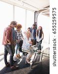businesswoman interacting with... | Shutterstock . vector #655259575