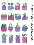 set of cute plant doodle with... | Shutterstock .eps vector #655263079