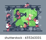 shooting video clip in studio | Shutterstock .eps vector #655263331