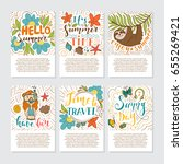 set of summer holidays and... | Shutterstock .eps vector #655269421