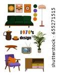 1970s furniture vector elements....   Shutterstock .eps vector #655271515