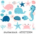 cute vector ocean set with sea... | Shutterstock .eps vector #655272304
