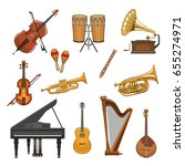 musical instruments vector... | Shutterstock .eps vector #655274971