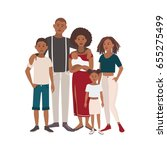 happy large black family... | Shutterstock . vector #655275499