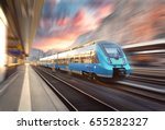 high speed train in motion at... | Shutterstock . vector #655282327