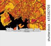 oslo  norway  skyline map ...   Shutterstock .eps vector #655282705