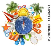 vector beach accessories with... | Shutterstock .eps vector #655282915