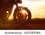 motorbike on a coastal road | Shutterstock . vector #655285084