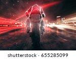 Motorbike Drives Through Night...