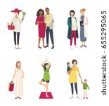 pregnant woman s set. different ... | Shutterstock . vector #655295065