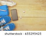 running shoes with sport... | Shutterstock . vector #655295425