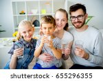 family drinks water | Shutterstock . vector #655296355