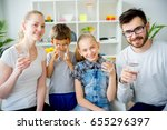 family drinks water | Shutterstock . vector #655296397