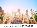big group of people dancing at... | Shutterstock . vector #655296757