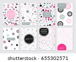 set of 8 stylish cover... | Shutterstock .eps vector #655302571