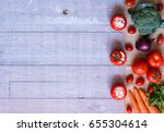 stuffed tomatoes with cheese ... | Shutterstock . vector #655304614