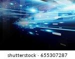 abstract digital technology... | Shutterstock . vector #655307287