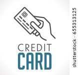 logo   credit card in hand | Shutterstock .eps vector #655313125