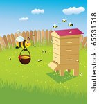beehive and bees. apiary on the ... | Shutterstock . vector #65531518