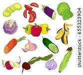 different vegetables on white... | Shutterstock .eps vector #655323904