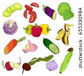 different vegetables on white... | Shutterstock . vector #655330984