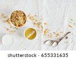 granola  honey and yogurt in... | Shutterstock . vector #655331635