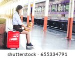traveling with a girl waiting... | Shutterstock . vector #655334791