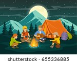 family sitting around campfire... | Shutterstock .eps vector #655336885