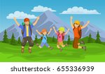happy family  jumping for joy... | Shutterstock .eps vector #655336939