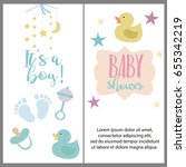 set of baby shower invitation... | Shutterstock .eps vector #655342219