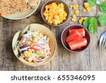 salad with crab sticks   Shutterstock . vector #655346095