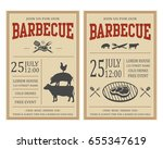 vintage barbecue party... | Shutterstock .eps vector #655347619