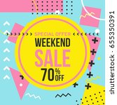 promo banner in memphis style.... | Shutterstock .eps vector #655350391