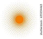 orange halftone circle frame... | Shutterstock .eps vector #655354465