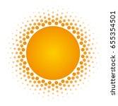 orange halftone circle frame...   Shutterstock .eps vector #655354501
