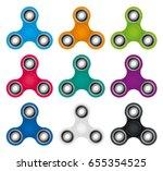 set of color finger spinners... | Shutterstock .eps vector #655354525