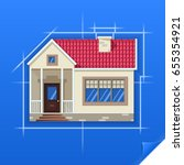 drawing of a house on blue... | Shutterstock .eps vector #655354921