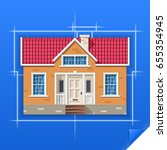 drawing of a house on blue... | Shutterstock .eps vector #655354945