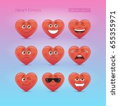 heart emojis. first emoticons... | Shutterstock .eps vector #655355971