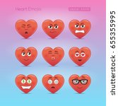 heart emojis. third emoticons... | Shutterstock .eps vector #655355995